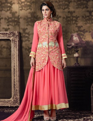 Georgette pink semi stitched wedding wear anarkali suit