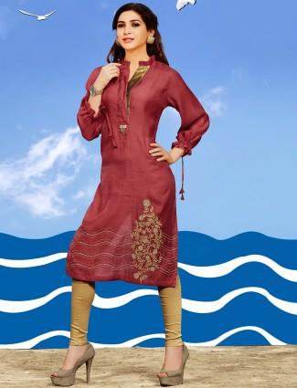Georgette pink stylish kurti