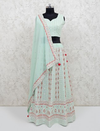 Georgette pista green designer wedding lehenga choli
