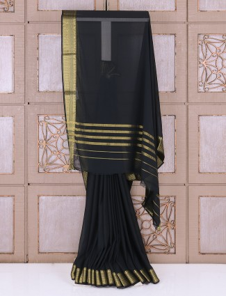 Georgette plain black saree