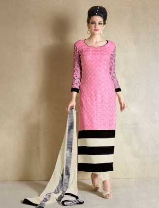 Georgette pretty pink semi stitched party wear straight salwar suit