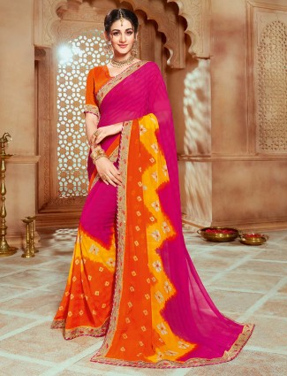 Georgette printed magenta saree in festive