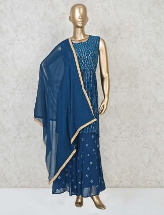 Georgette punjabi sharara suit in blue