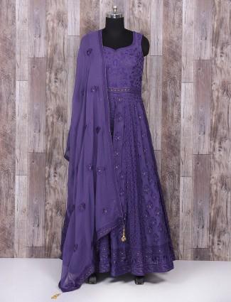 Georgette purple color anarkali suit