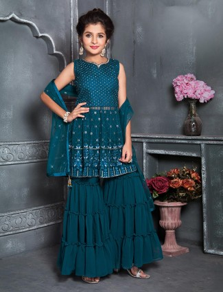 Georgette rama green wedding sharara suit