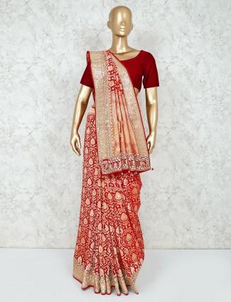 Georgette red designer bridal wear saree