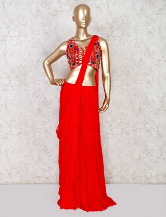 Georgette red indo western salwar suit for party