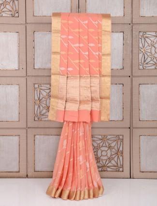Georgette saree in peach color