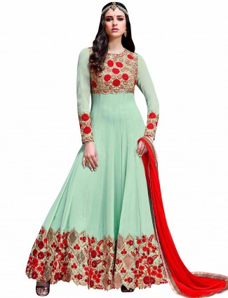 Georgette sea green long anarkali suit