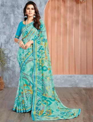Georgette sea green printed festive saree
