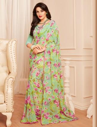 Georgette sea green printed saree