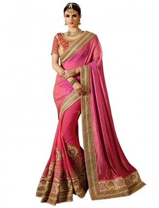 Georgette silk pink designer half and half saree
