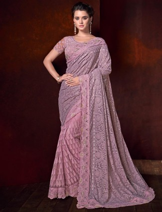 Georgette half and half violet saree for party function