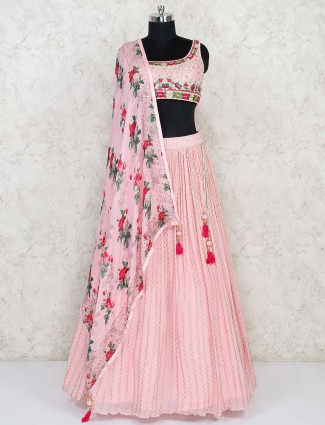 Georgette wedding pink lehenga choli