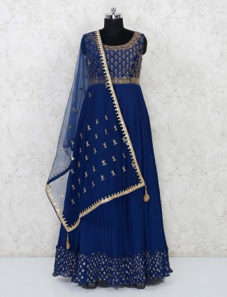 Georgette wedding wear anarkali suit in royal blue