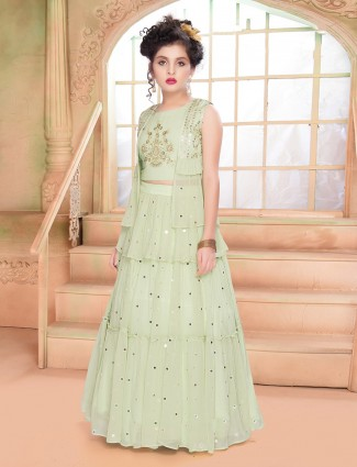 Georgette wedding wear jacket style lehenga choli