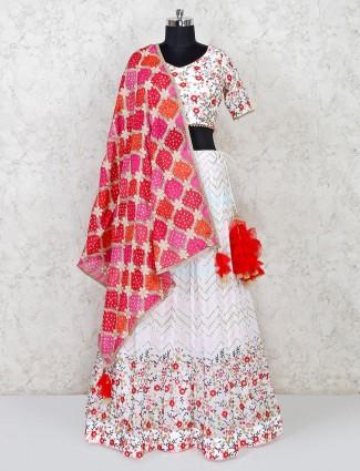 Georgette wedding wear white lehenga choli