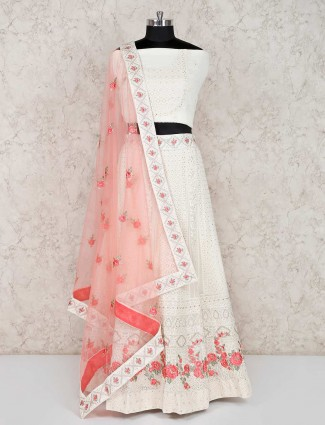 Georgette white semi stitched lehenga choli in wedding