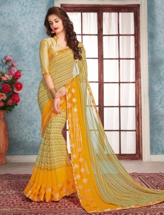 Georgette yellow printed classy saree