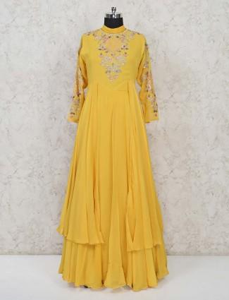 Georgette yellow wedding wear anarkali suit