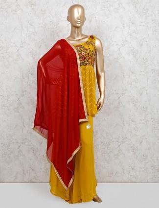 Georgette yellow wedding wear punjabi palazzo suit