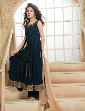Georgettte bottle green anarkali palazzo suit