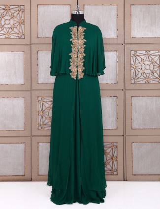 Georgtte green designer salwar suit