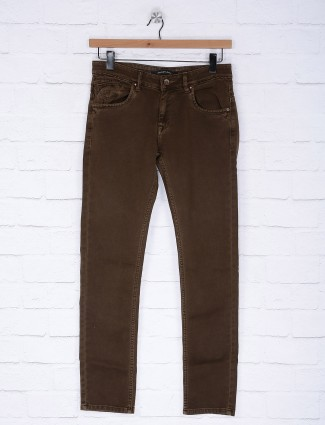 Gesture dark brown colored solid jeans