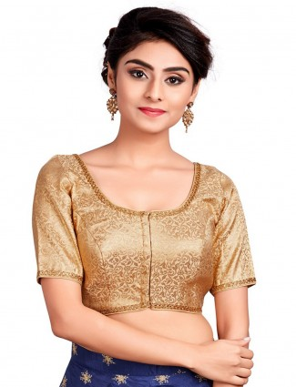 Get the beige kinkhab blouse for wedding