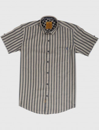 Gianti beige stripe pattern shirt