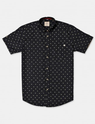 Gianti black printed casual mens shirt