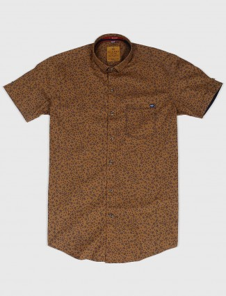 Gianti brown printed cotton fabric shirt