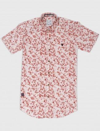 Gianti casual wear peach printed shirt