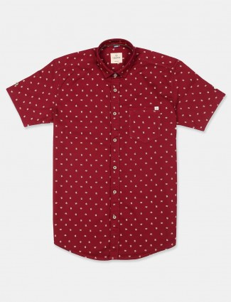 Gianti cotton printed maroon shirt for mens