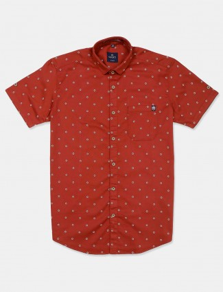 Gianti cotton printed red mens shirt