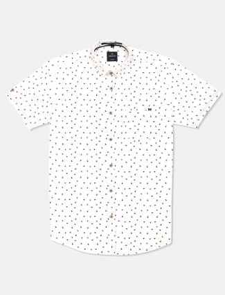 Gianti cotton printed white shirt