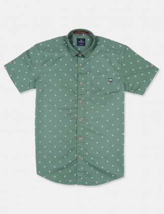 Gianti full sleeves green printed shirt