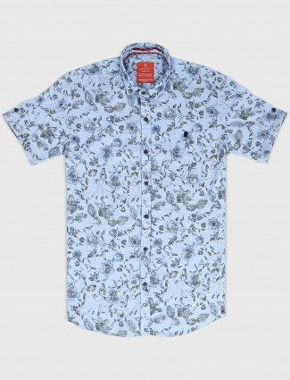 Gianti light blue printed mens shirt