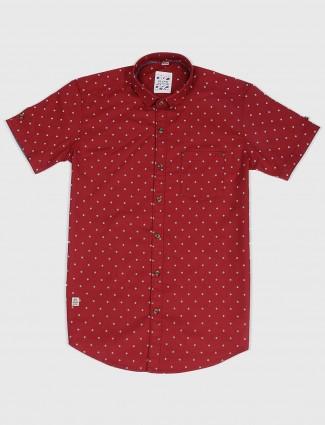 Gianti maroon printed pattern shirt