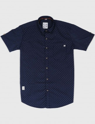 Gianti navy colored printed shirt