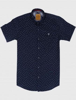 Gianti navy hued printed cotton shirt