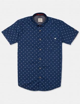 Gianti navy printed casual printed shirt