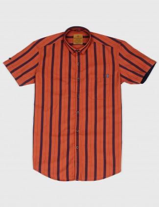 Gianti orange stripe cotton shirt