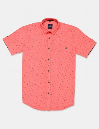 Gianti peach printed casual shirt