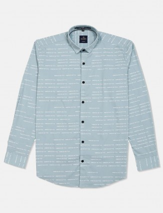 Gianti presented sea green printed shirt