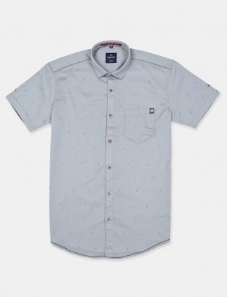 Gianti printed grey half sleeves shirt