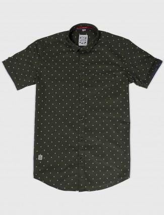 Gianti printed olive cotton fabric shirt