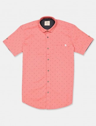 Gianti printed peach slim collar casual shirt