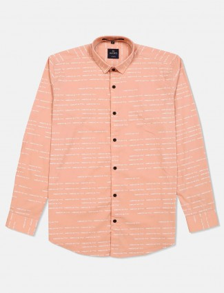 Gianti printed peach slim collar shirt
