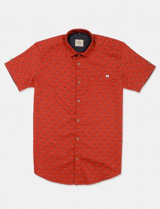 Gianti printed rust orange slim collar shirt